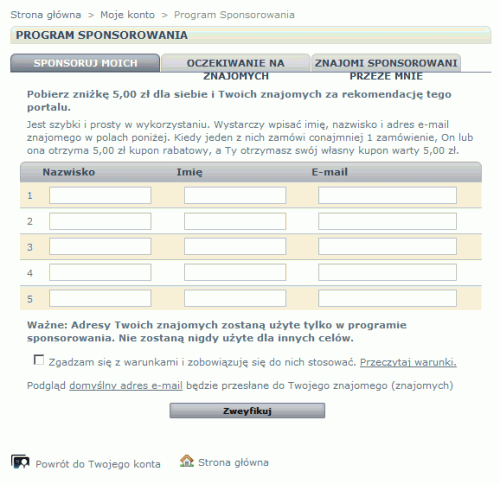 Klient programu sponsorowanego - konto