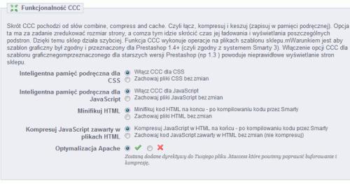 Funkcjonalność CCC w Prestashop 1.5