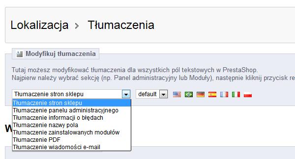 Tłumaczenie Lokalizacja w Prestashop 1.5