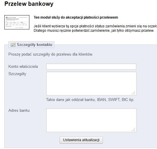 Przelew bankowy - ustawienia szczegółowe
