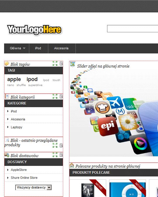 Strona przemieszczania bloków LiveEdit.